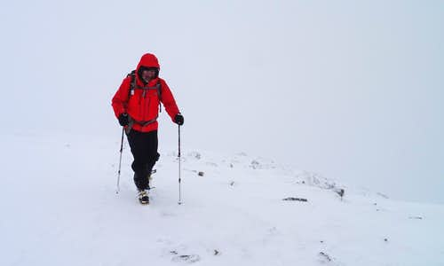 White-out conditions on final ascent to Mam Sodhail 1181m