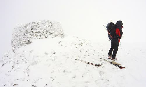 White-out conditions on Summit of Mam Sodhail 1181m