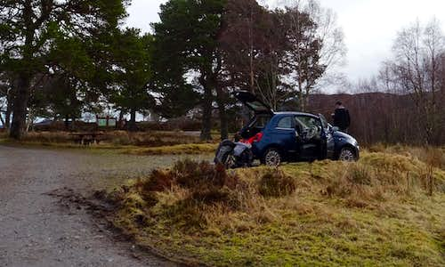 Glen Affric main carpark after an eventful 5 day expedition