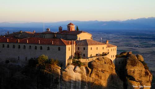 Meteora monastery at sundown