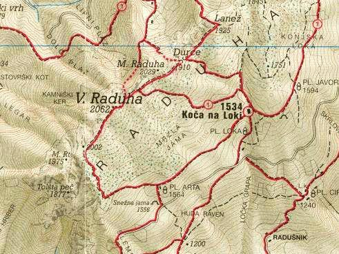Routes overview for Raduha...