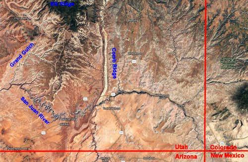Satellite photo of Cedar Mesa