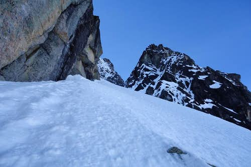 Looking up the stair case to the first Couloir