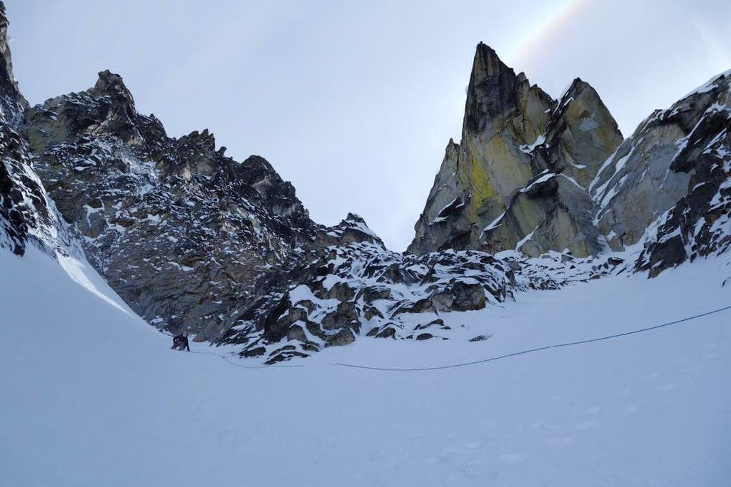 Dramatic  Spires rise above the Triple Couloirs