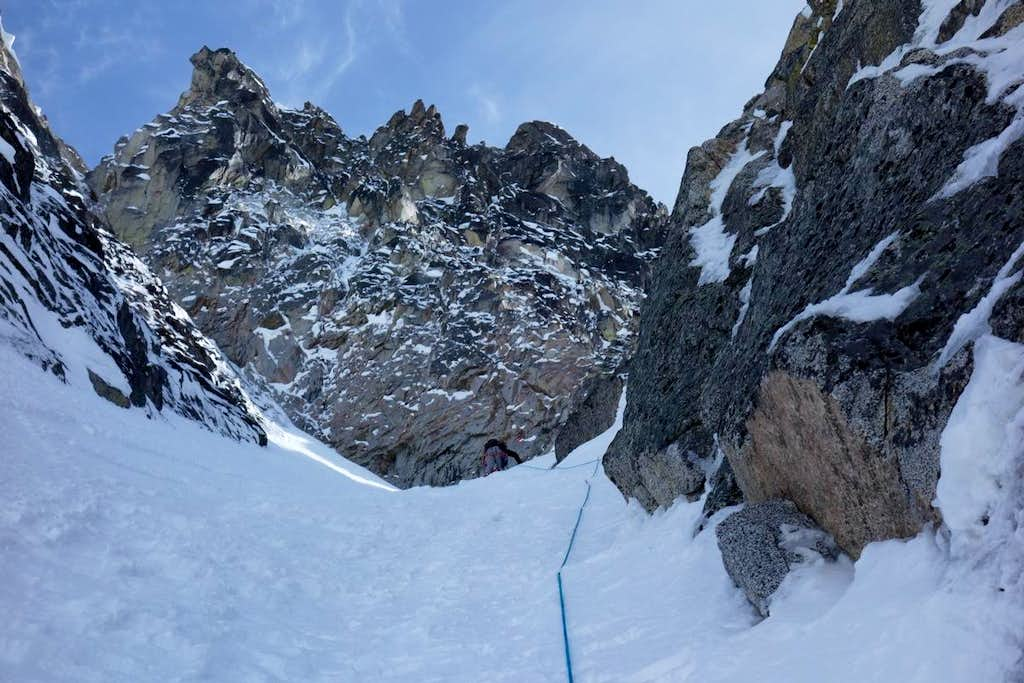 Topping out of the Second Couloir