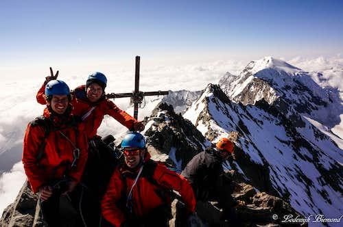 Lagginhorn (4010m) summit shot with Weissmies behind