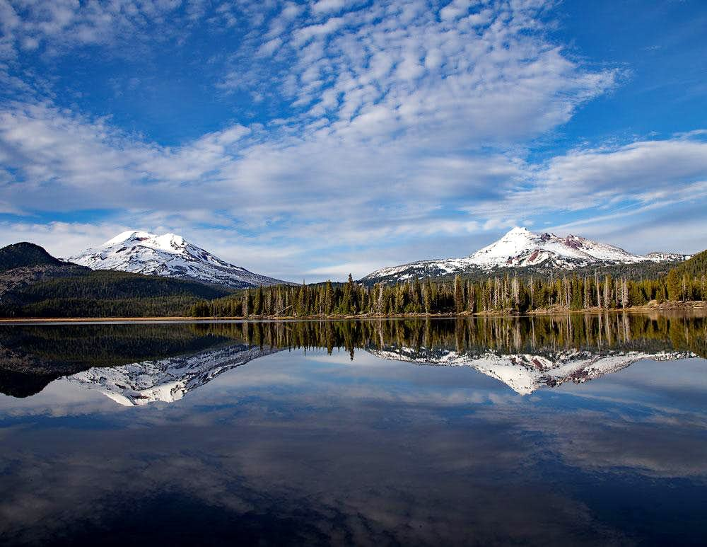 South Sister and Broken Top from Sparks Lake