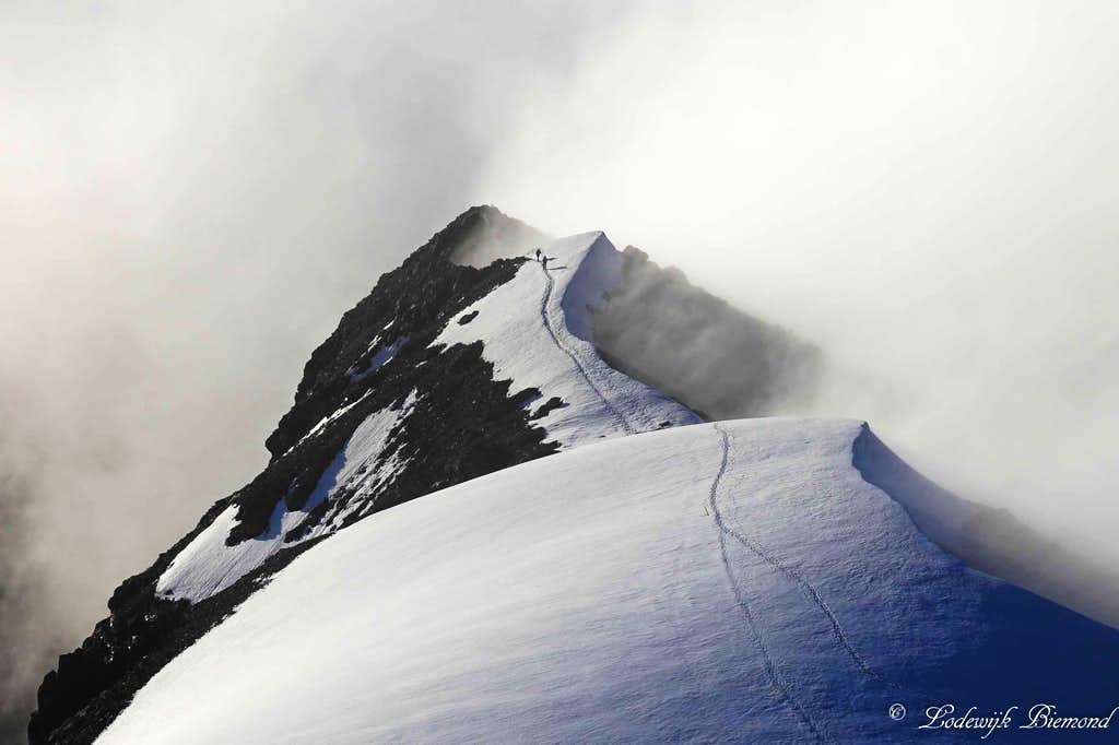 Climbers entering the 1st snowfield