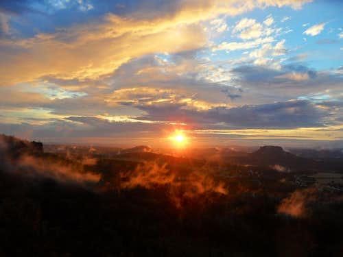 Breathtaking sunset in Saxon Switzerland