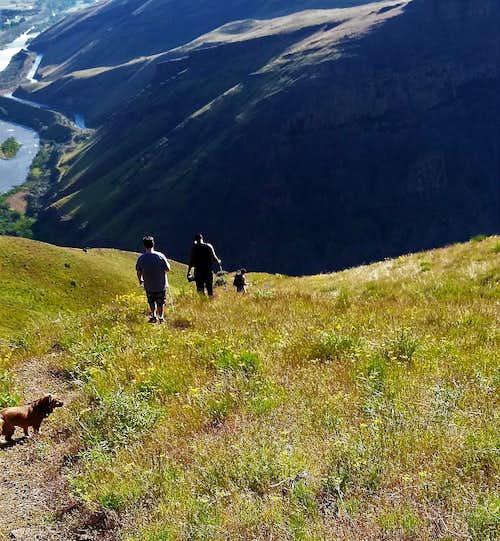 Heading down the steep trail