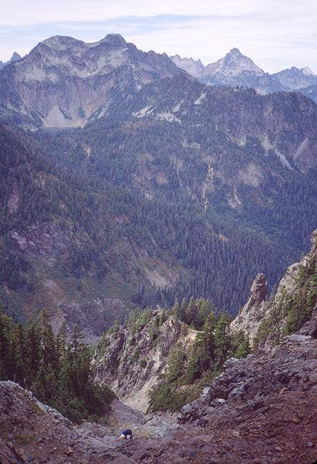 Bill Rowe climbing the gully...