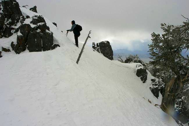 In winter, ice axe and...