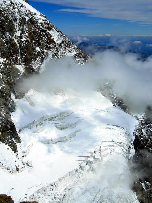 Punta Giordani, a glance over Piode glacier